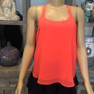Fluorescent Coral Pink Chiffon Top